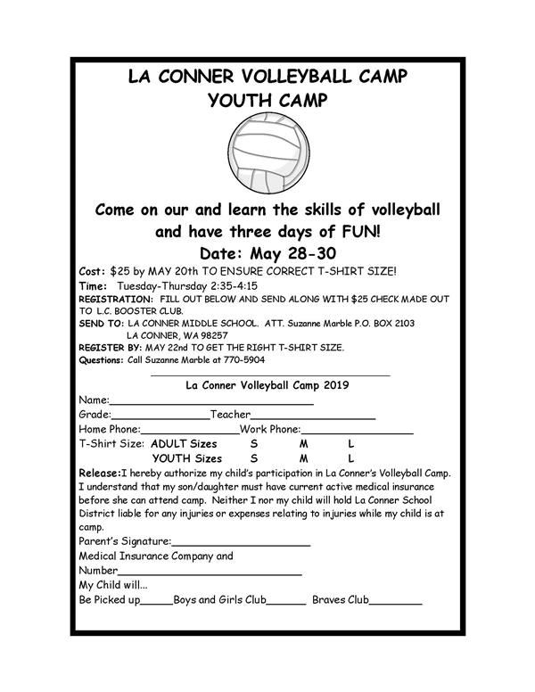 Booster Club - La Conner Volleyball Club, May 28-30, 2:35-4:15pm Pre-registration required<hr><br>