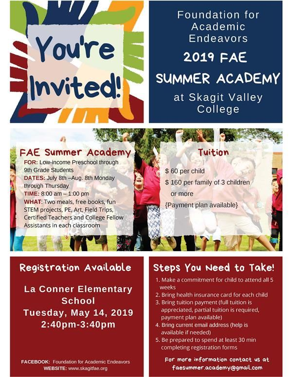 Registration LC Elementary, May 14 ~ 2019 Foundation for Academic Endeavors Summer Academy<hr><br>