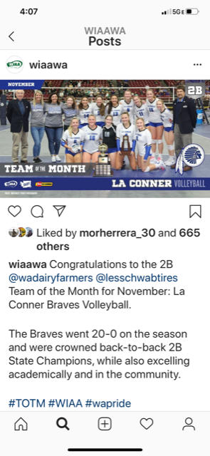 Congratulations to our La Conner Braves Volleyball team for receiving Team of the Month! The volleyball program shines brightly and it's wonderful they were recognized by the state for all of their hard work and achievements!<hr><br>