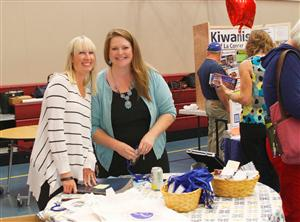 Jennifer Tenbor (left) and Bonnie Haley (right) at LCSD booth of Staff Back To School In-Service Vendor Fair