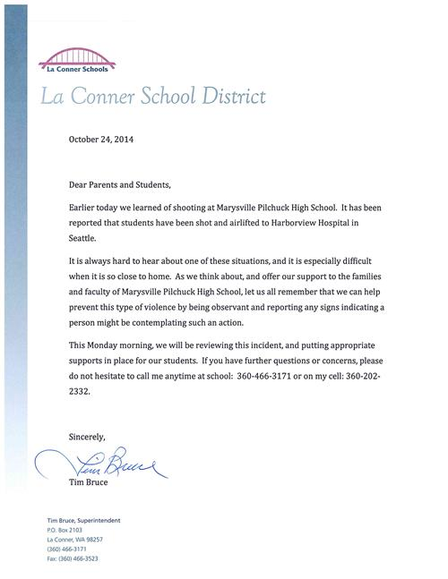 Letter to Parents and Students Concerning Shooting at Marysville Pilchuck High School